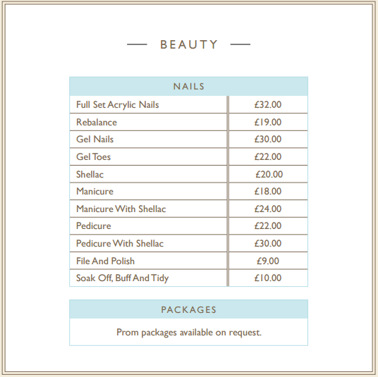 Anthony Fellows Mirfield Beauty Salon Pricelist
