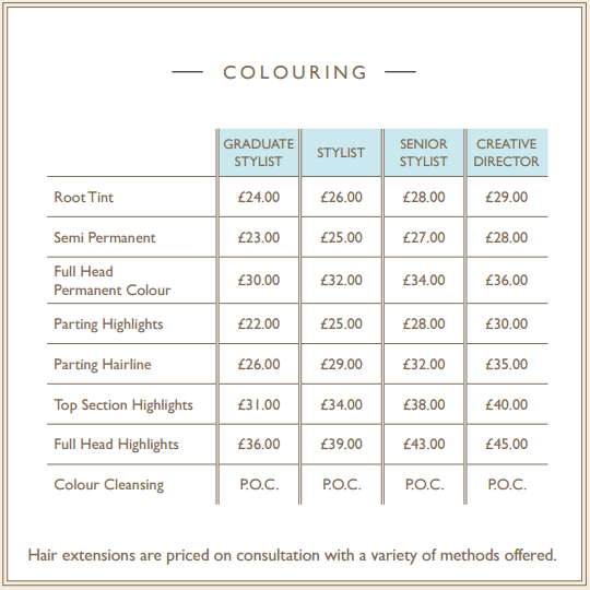Anthony Fellows Mirfield Hair Salon Pricelist